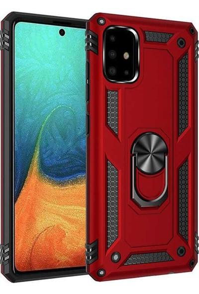 Zümrah Samsung Galaxy A71 Kılıf Çift Katmanlı Güçlü Zırh Koruma Tank Crash Arka Kapak Darbe Önleyici Kırmızı