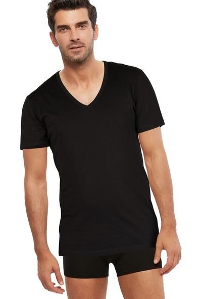Kom Erkek Penye Açık V-Yaka T-Shirt Enrico Atlet 2 Li Siyah S-3xl