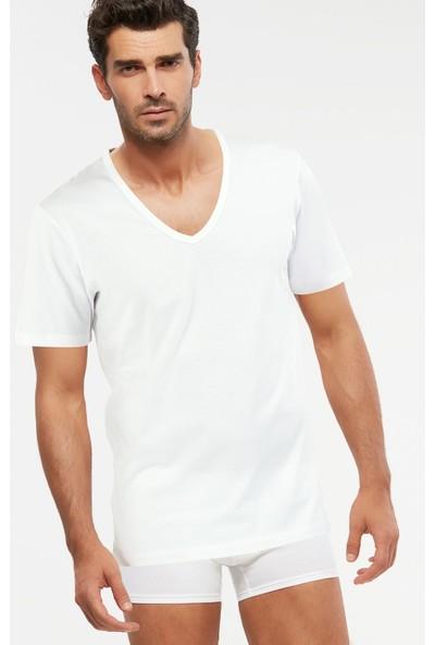 Kom Erkek Penye Açık V-Yaka T-Shirt Enrico Atlet 2 Li Beyaz S-3xl