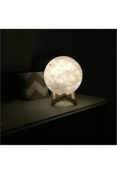 Hediye Ofisi 3D Standlı Ay Gece Lambası Dekoratif Küre LED 3D Ay Lamba