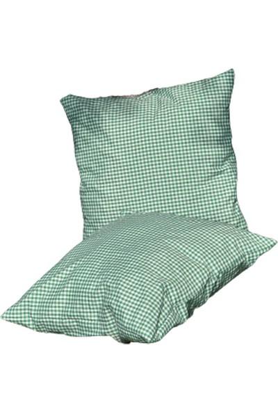 1Se2Ge Handmade Yeşil Pötikareli Piknik Örtüsü 170X170, Piknik Minderi 50X50, Amerikan Servis 45X35