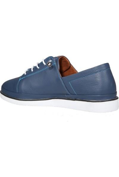 Pandora Moda MD196 Saf Deri Mavi Kadın Günlük Ayakkabı