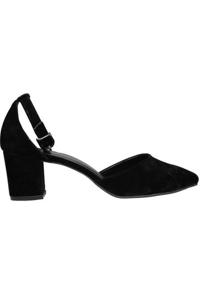 Pandora Moda CD400 Siyah Suet Kadın Topuklu Ayakkabı