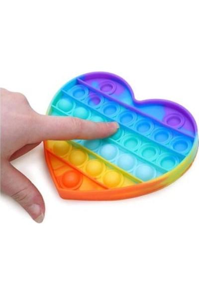 Toys Pop It Push Bubble Fidget Popit Duyusal Oyuncak Zihinsel Stres Kalp Oyuncak ( Gökkuşağı Rainbow )