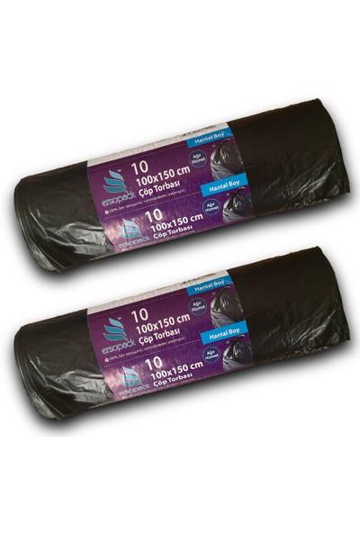 Ersopack Endüstriyel 100 x 150 cm Çöp Torbası 10 x 2 Adet Hantal Boy Çöp Poşeti Siyah