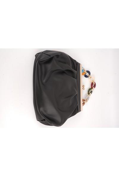 Lindo Siyah Renk Çift Halkalı Renkli Zincir Detaylı Kadın Çanta