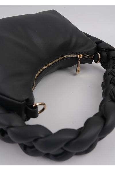 Lindo Örgü Model Siyah Renk El ve Omuz Çantası