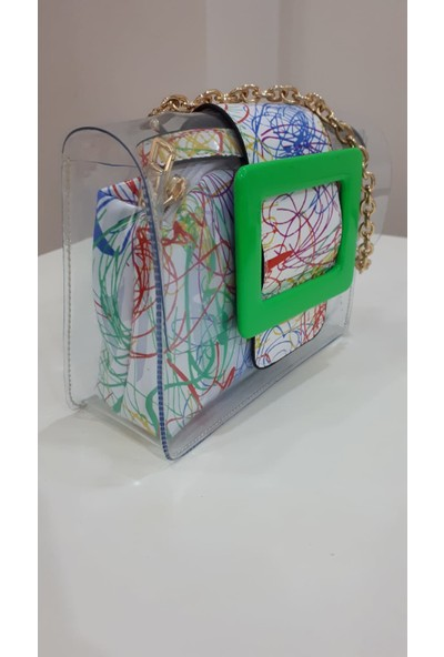Lindo Şeffaf Desenli Yeşil Omuz Çantası