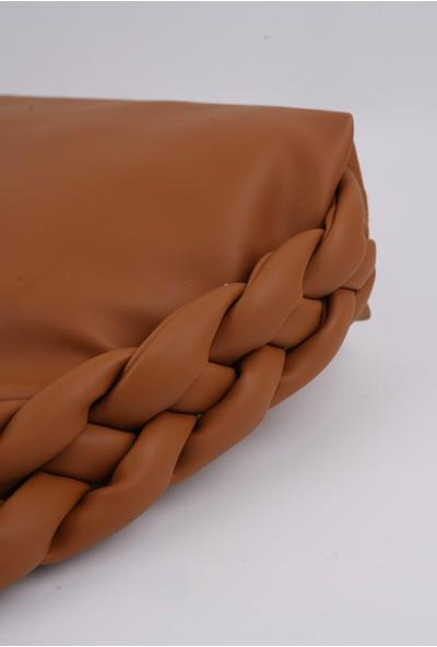 Lindo Örgü Model Taba Rengi El ve Omuz Çantası