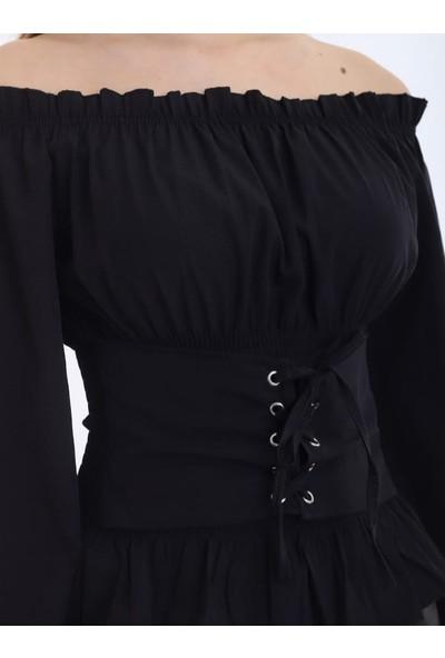 Sateen Siyah Korse Detaylı Bluz