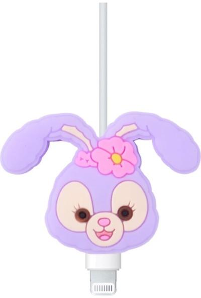 Happycase Sevimli Şarj Kablo Koruyucu Figürlü Kablo Mor Tavşan