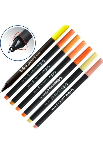 Keskin Color Shine A4 Plastik Kapak 80 Yaprak Kareli Defter Seti & Artline Fineliner Kırmızı Tonlar 3 Defter - 7 Kalem