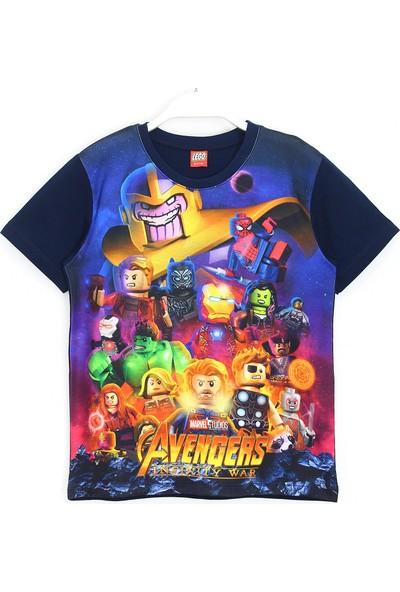LEGO Avengers Infinity War Karakterleri 3D Baskılı Erkek Çocuk Kısa Kollu T-Shirt 5 - 13 Yaş Lacivert