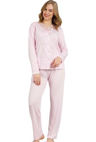 Alimer Kadın Pembe Güpürlü Kutulu Bayan Pijama Takımı 2465