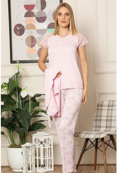 Alimer Kadın Pembe Dantelli 3 'lü Sabahlıklı Kutulu Pijama Takımı 2518