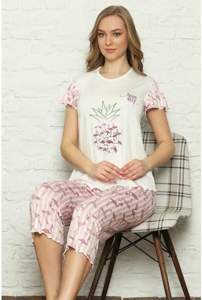 Alimer Ekru Filamingo Desenli Bermuda Bayan Pijama Takımı 2572B