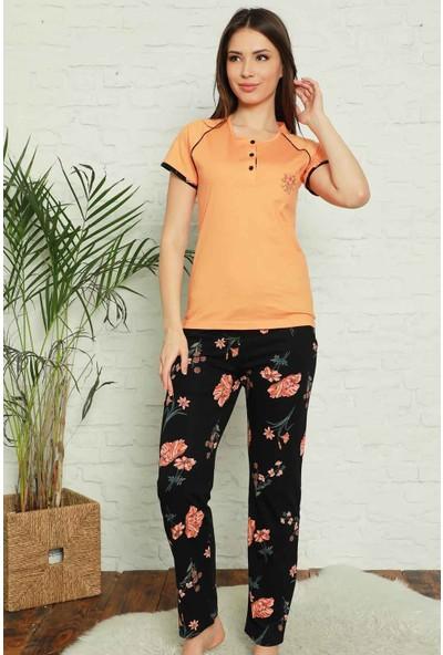 Alimer Kadın Somon Çiçek Desenli Bayan Pijama Takımı 2575KY