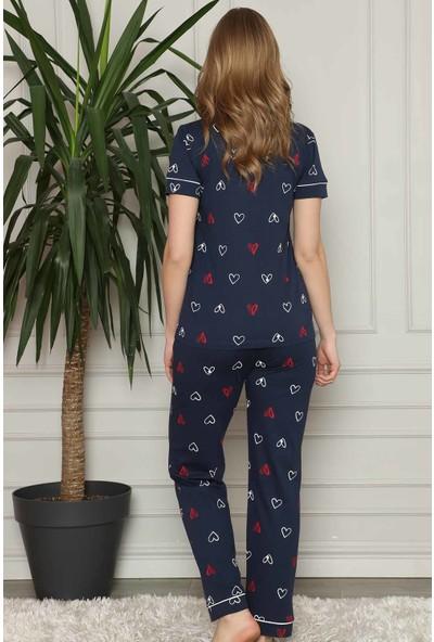 Alimer Kadın Lacivert Kalp Desenli Önden Düğmeli Gömlek Yaka Kısa Kollu Pijama Takımı 2581KY