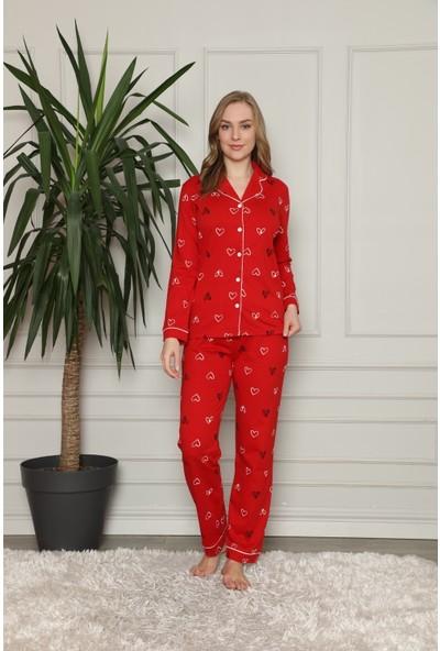 Alimer Kadın Kırmızı Kalp Desenli Önden Düğmeli Gömlek Yaka Uzun Kollu Pijama Takımı 2581UY