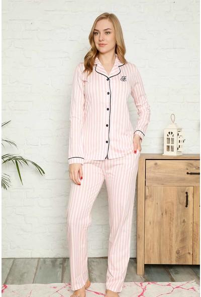Alimer Kadın Pembe Çizgili Gömlek Model Pijama Takımı 2568UY