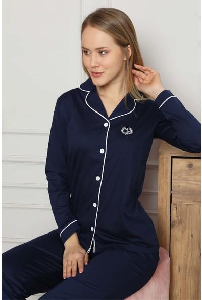 Alimer Kadın Lacivert Önden Düğmeli Gömlek Yaka Uzun Kollu Pijama Takımı 2577UY