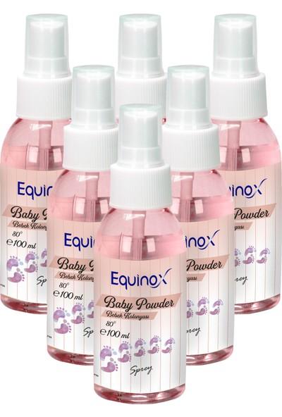 Equinox Baby Powder 100 ml Sprey Bebek Pudrası Kokulu Kolonya 6 Adet