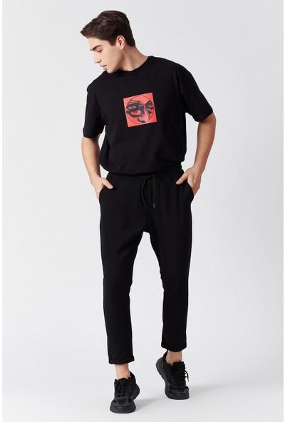 Manche Siyah Beli Lastikli Erkek Pantolon