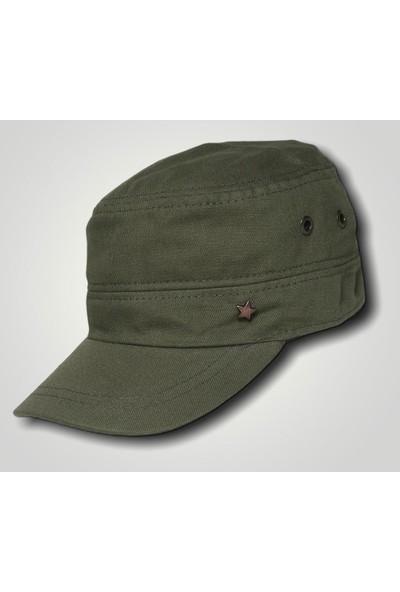Erkek Yeşil Yıldızlı Castro Şapka Terletmez Kumaş Kasket Cap