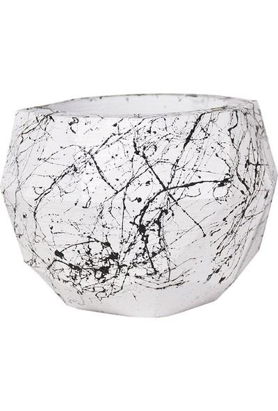 Flovart Şık Diamond Saksı Özel Tasarım - Beyaza Siyah Mermer