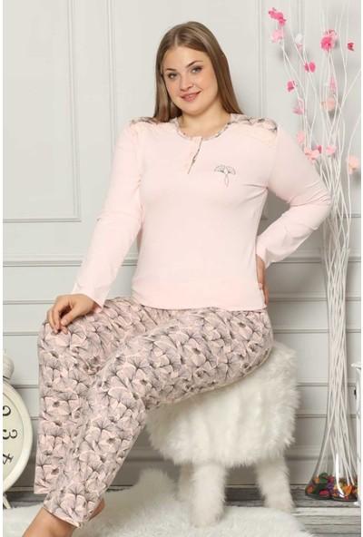Alimer Kadın Somon Büyük Beden Pijama Takımı 2539UYB