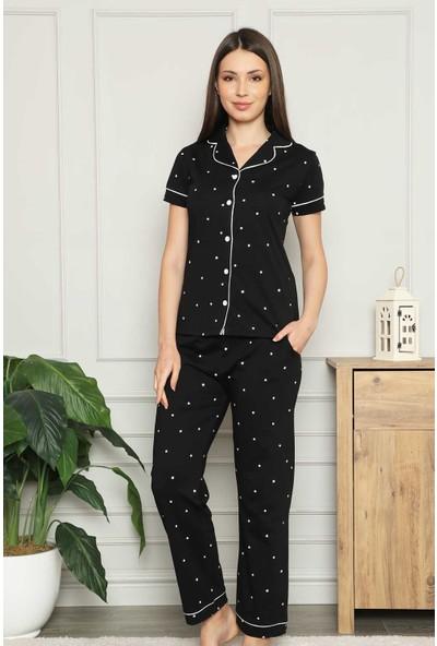 Alimer Siyah Yıldız Desenli Boydan Düğmeli Gömlek Yaka Kısa Kollu Kadın Pijama Takımı 2576KY