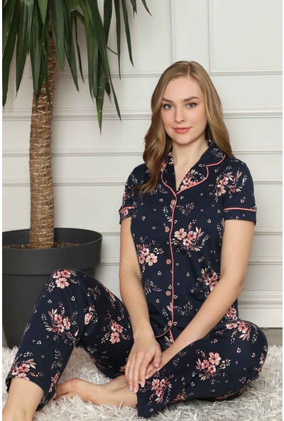 Alimer Kadın Lacivert Çiçek Desenli Önden Düğmeli Pijama Takımı 2579KY