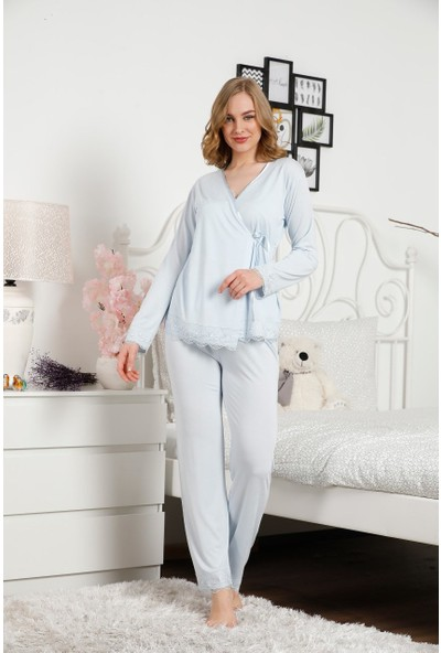 Alimer Kadın Mavi Pijama Takımı 3'lü Set Dantelli 2475