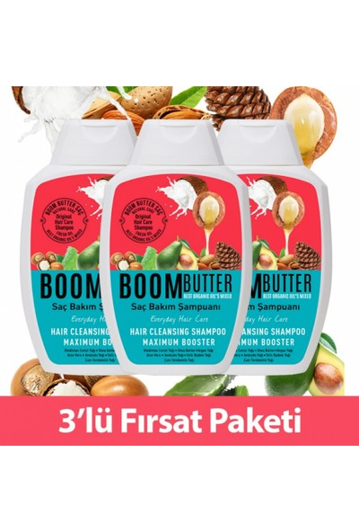 Boom Butter Saç Bakım Şampuanı Üçlü Paket