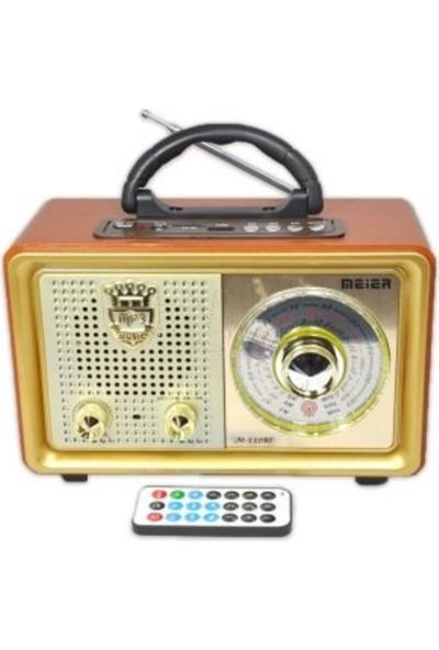 Meier M-110 Bt Nostaljik Ahşap Retro Radyo Bluetooth Fm Sd USB