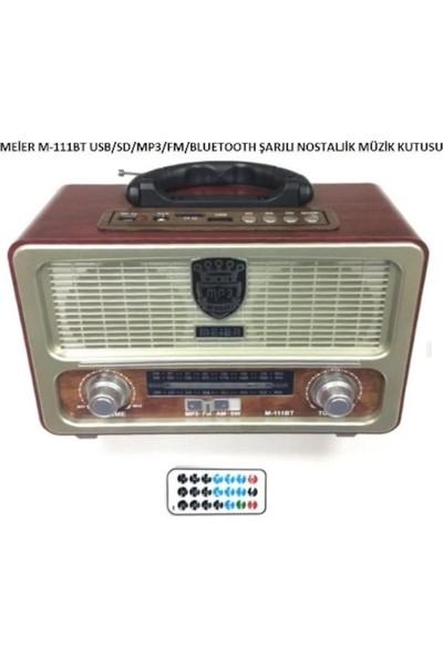 Meier 111 Bt Şarjlı Nostaljik Radyo Bluetootlu-Kumandalı Usb/sd Destekli