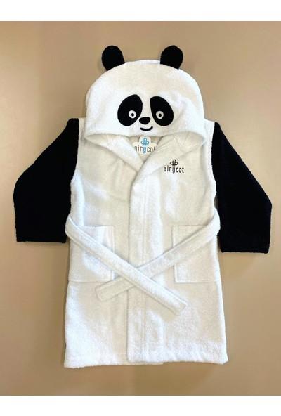 Airycot Çocuk Bornoz Panda Siyah - Beyaz