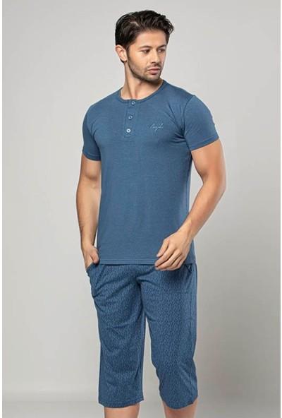 Erkek Kapri Pijama Takımı Kısa Kollu Modal