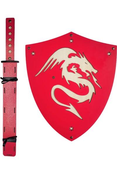 Ahtek Ahşap Japon Samuray Ninja Kalkanı ve Katana Kılıcı Kırmızı