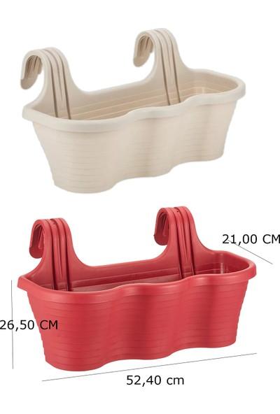 Minia Bahçe Askılı Balkon Saksı 2'li 53 cm 10 Lt Kirli Beyaz Kırmızı