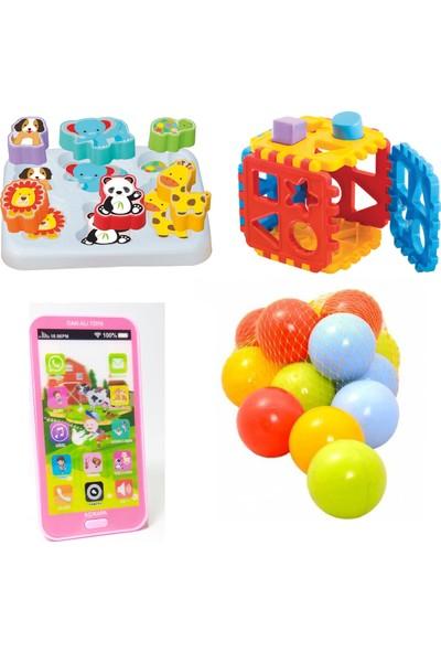 Beybisi Sevimli Hayvanlar Bultak + Puzzle Bultak + Oyuncak Cep Telefonu + 10 Adet Top