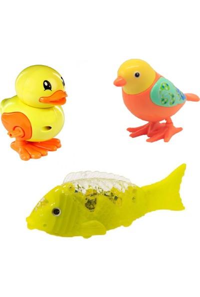 Beybisi Kurmalı Emekleme Arkadaşı Ördek + Kuş + Müzikli Pilli Işıklı Balık