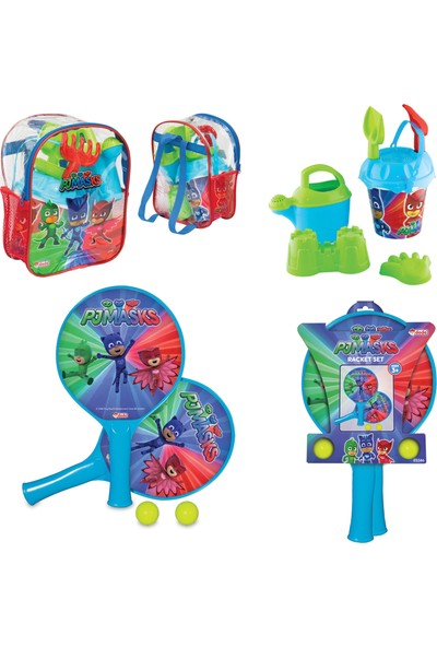 Beybisi Pj Masks Resimli Sırt Çantalı Plaj Set + Pj Masks Raket Set