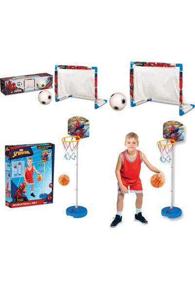 Beybisi Spiderman Futbol Set + Spiderman Küçük Ayaklı Basket Pota Set