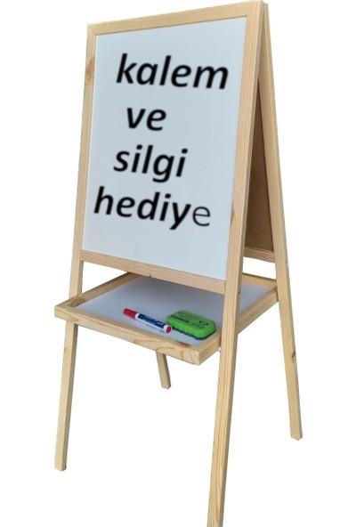 Abc Ahşap Sepetli Çift Taraflı Beyaz Ayaklı Çocuk Yazı Tahtası