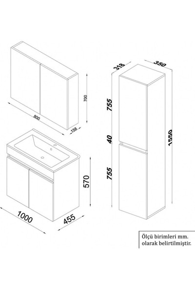 Banos TM3 Ayaksız 2 Kapaklı Lavabolu Beyaz Mdf 100 cm Banyo Dolabı + Aynalı Banyo Üst Dolabı + Banyo Boy Dolabı