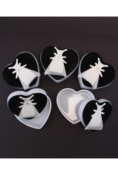 Lora Wedding 5 Adet Gelinlik Figürlü Kalp Şeklinde Plastik Kutu