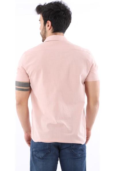 Arlin Erkek Keten Apaç Yaka Kısa Kol Slim Fit Düğmeli Pudra Gömlek