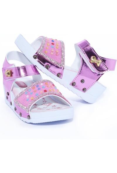 Daye Günlük Renkli Taşlı Kız Çocuk Sandalet