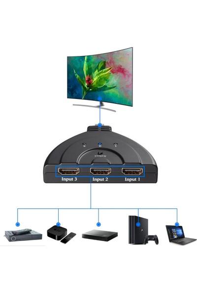 Badatrend 3 Port HDMI Switch Pigtail Kablo Full Hd 1080P HDMI Çoklayıcı Çoğaltıcı 3 Giriş 1 Çıkış Çoklama